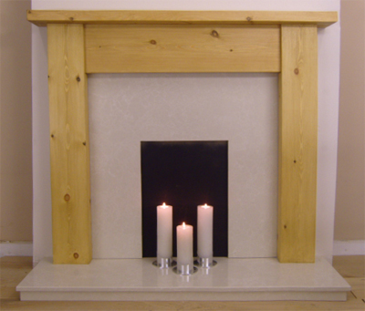 Contemporary Straight Pine Fire Surround